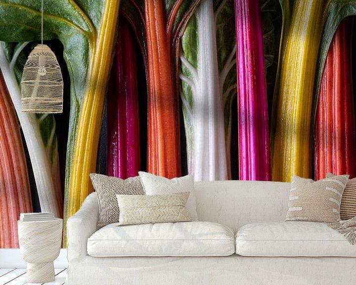 Sfeerimpressie behang: Kleurrijke Regenboog Snijbiet l Food Fotografie van Lizzy Komen