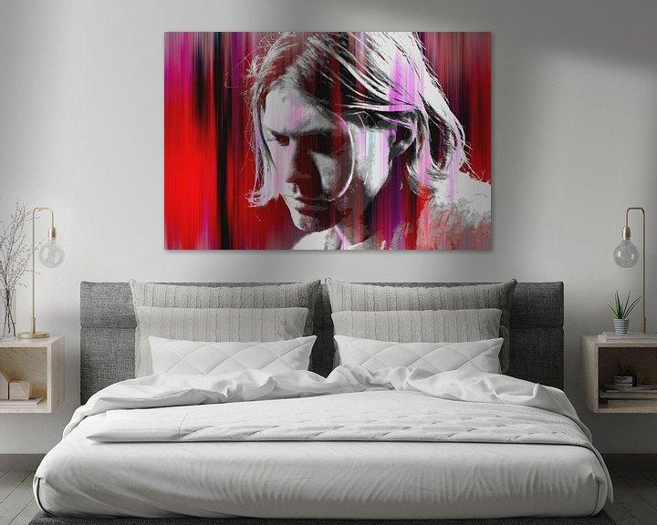 Beispiel: Kurt Cobain Abstraktes Porträt in Rot-Rosa von Art By Dominic