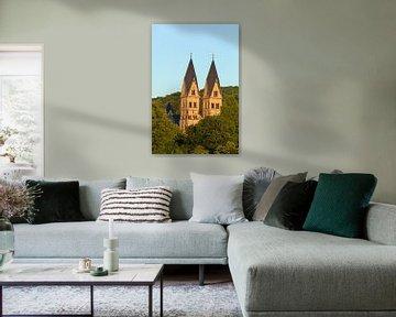 Basiliek St. Kastor in het avondlicht, Koblenz, Rijnland-Palts, Duitsland, Europa