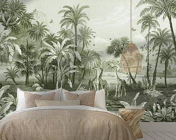 Vintage jungle met giraffen en vogels. Palmen en varens. van Studio POPPY