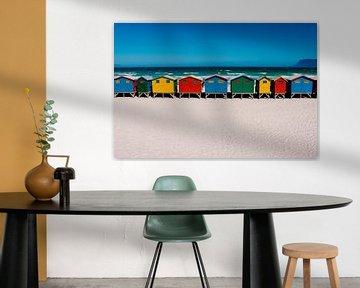 Muizenberg : maisons de plage colorées - Afrique du Sud : tirage photo de voyage sur Freya Broos