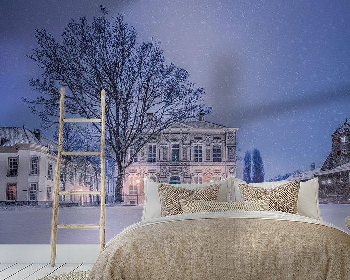 Sfeerimpressie behang: Besneeuwde Kasteelplein in de nacht - Breda van Joris Bax