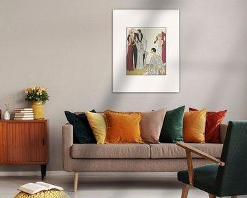 Klassieke avond | Historische Art Deco mode prent | Minimalistisch en chic van NOONY