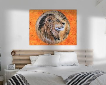 Kunstwerk eines Löwen gemalt Rechteck von Bobsphotography