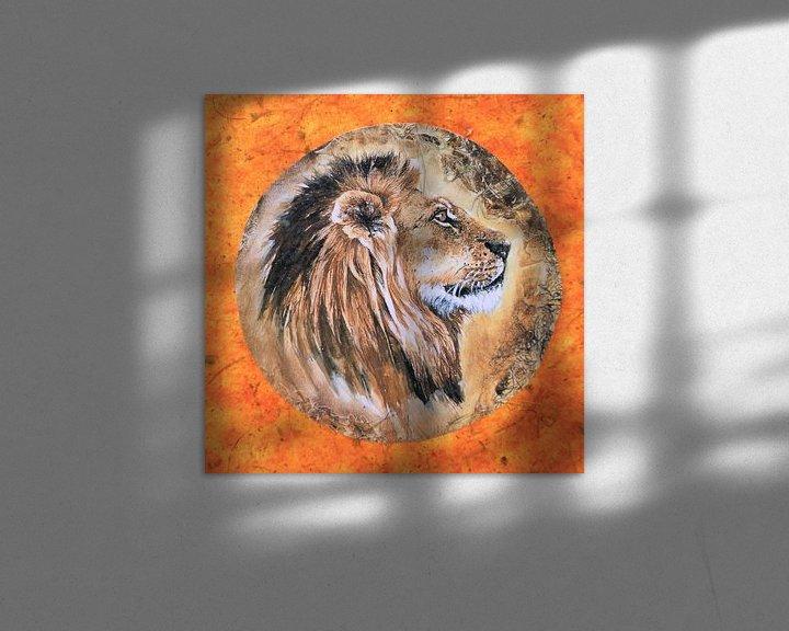 Sfeerimpressie: Kunstwerk van een leeuw geschilderd vierkant kunst van Bobsphotography