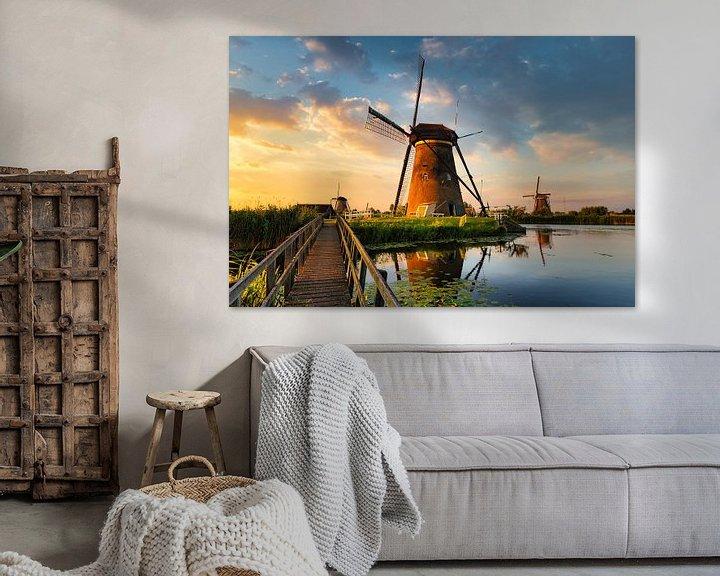 Beispiel: Kinderdijk Windmühlen bei Sonnenuntergang von Peter Bolman