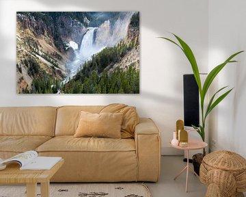 Wasserfall im Yellowstone National Park in Amerika von Linda Schouw