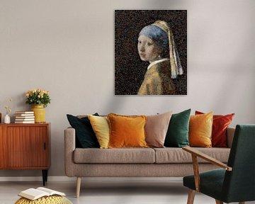 Mädchen mit Perlenohrring Mosaik von Atelier Liesjes
