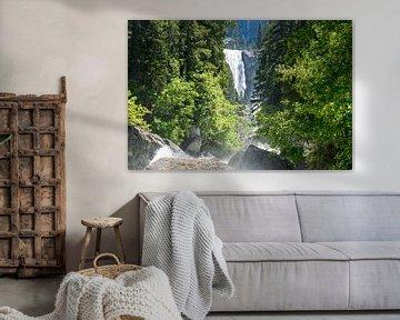 Prachtige waterval in de wildernis van Amerika van Linda Schouw