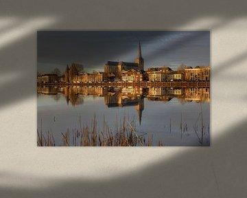 Stadtfront von Kampen mit Bovenkerk. von Fotografie Ronald