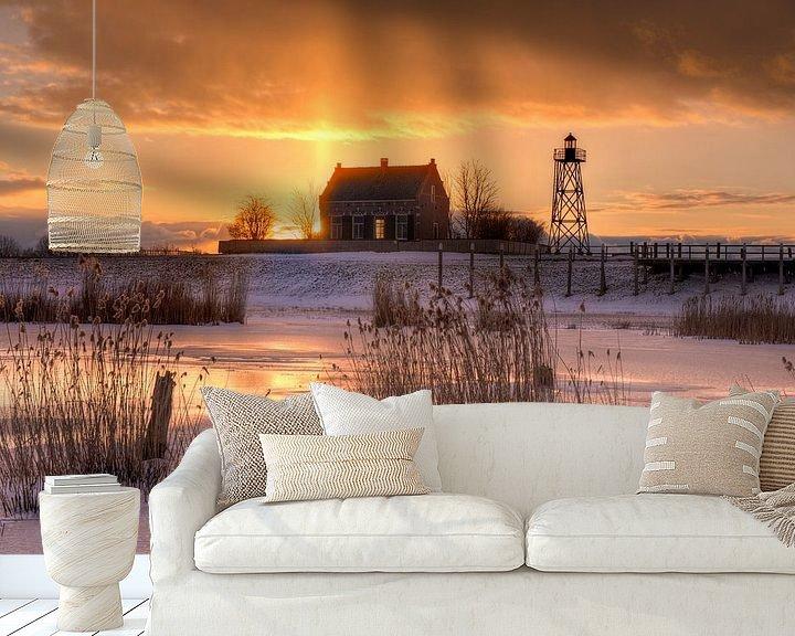 Sfeerimpressie behang: Oude haven Schokland van Fotografie Ronald