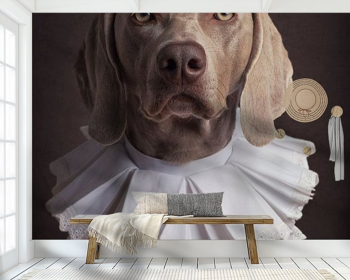 Sfeerimpressie behang: Klassiek hondenportret met kraag van Raoul Baart