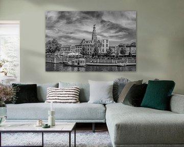 Breda - Hafen - Große Kirche - Schwarz und Weiß von I Love Breda