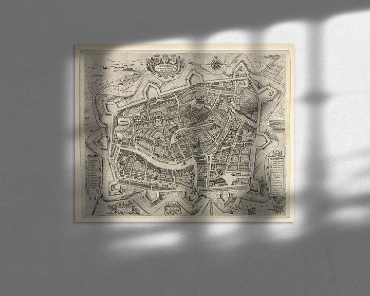 Sfeerimpressie: Oude kaart van Leeuwarden van omstreeks 1622 van Gert Hilbink