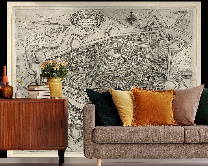 Beispiel fototapete: Alte Karte von Leeuwarden aus der Zeit um 1622 von Gert Hilbink
