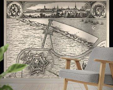Oude kaart van Grevelingen van omstreeks 1730 van Gert Hilbink