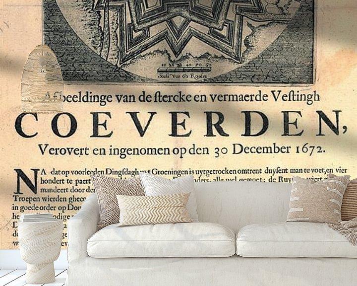 Impression: Image de Coevorden avec texte sur la conquête et la prise de la forteresse sur Gert Hilbink