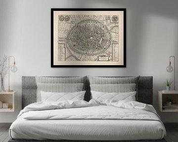 Alte Karte von Brügge aus der Zeit um 1652 von Gert Hilbink