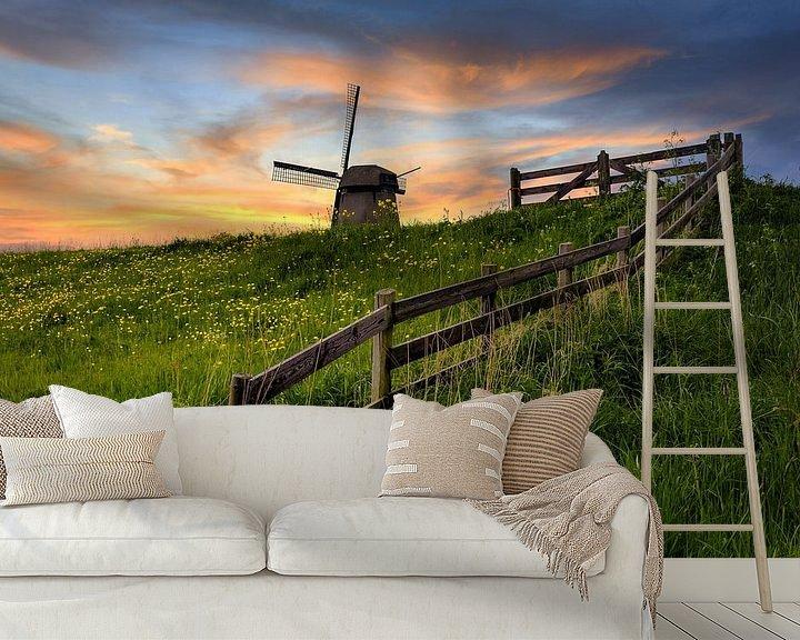 Beispiel fototapete: Holländische Mühle mit Zaun bei Sonnenuntergang von Peter Bolman