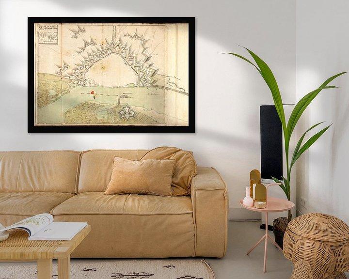 Sfeerimpressie: Oude kaart van Nijmegen van omstreeks 1702 van Gert Hilbink