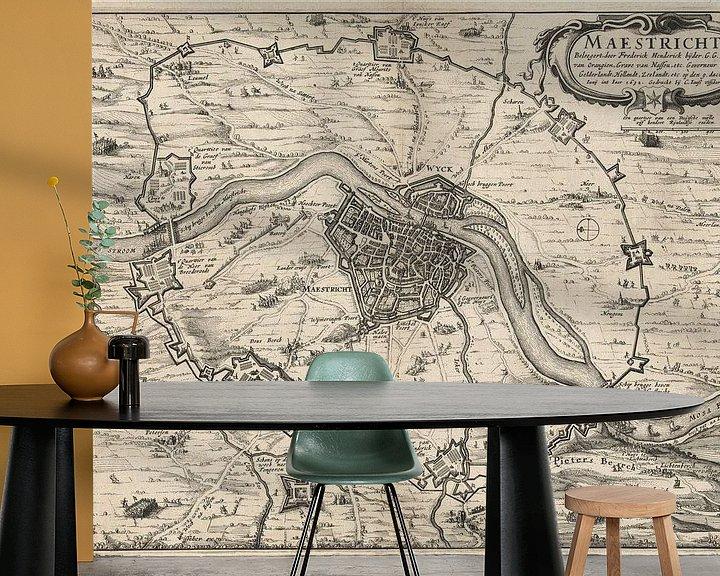 Impression: Ancienne carte de Maastricht datant d'environ 1632 sur Gert Hilbink