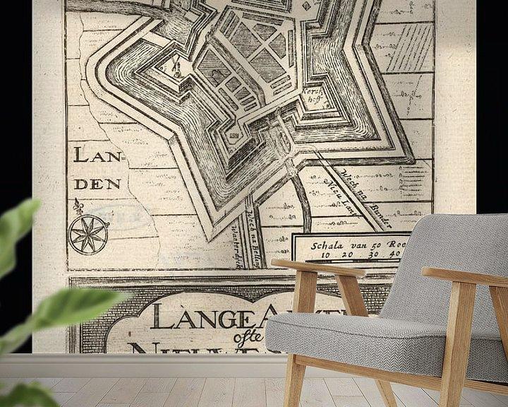 Sfeerimpressie behang: Oude kaart van Nieuwe Schans (Lange Akker), omstreeks 1743 van Gert Hilbink