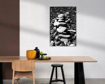 Stenen in rivier in zwart/wit van Anita Hermans