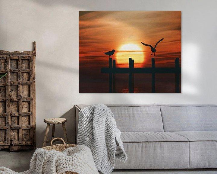 Sfeerimpressie: Meeuwen bij zonsondergang 5 van Jan Keteleer