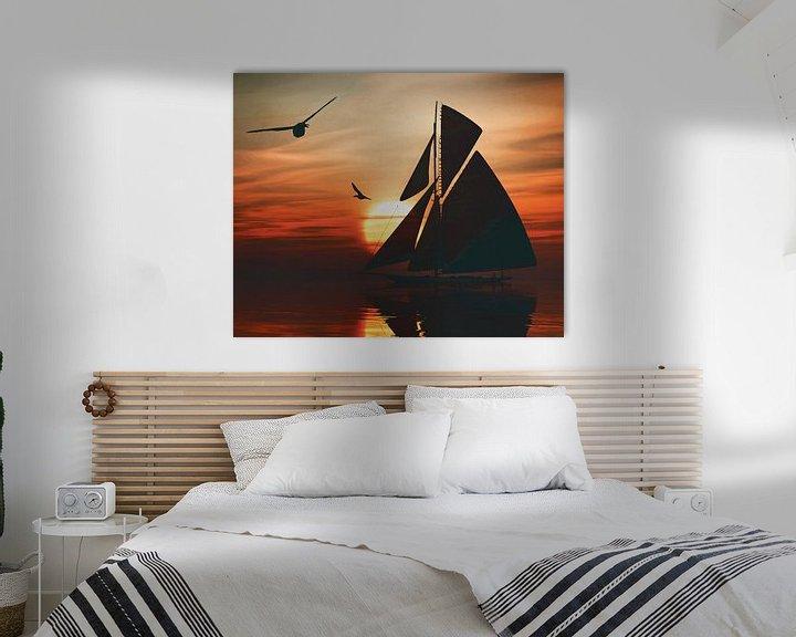Sfeerimpressie: Zeilboot bij zonsondergang 2 van Jan Keteleer