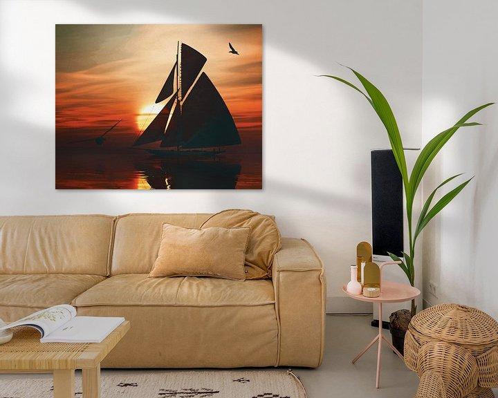 Sfeerimpressie: Zeilboot bij zonsondergang 3 van Jan Keteleer
