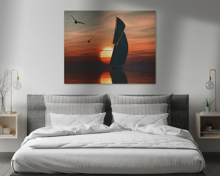 Sfeerimpressie: Zeilboot bij zonsondergang 4 van Jan Keteleer