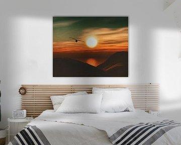 Zeemeeuw bij zonsondergang kust