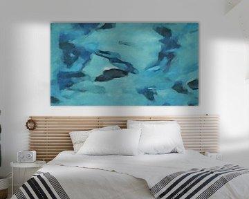 Abstract - Zwemmen met de Vissen - Schilderij van Schildersatelier van der Ven