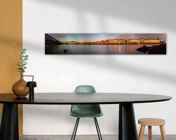 Panorama van  de oude ijsselbrug in Zutphen van Royvs Fotografie