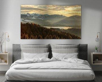 Avondstemming over de Sihlsee met Einsiedeln van Pascal Sigrist - Landscape Photography