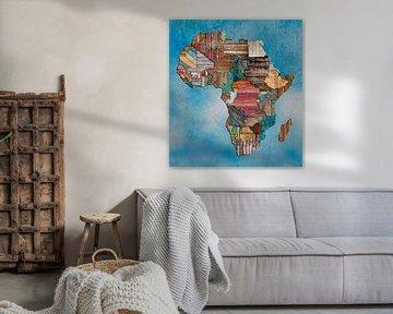 Landkaart Afrika hout van Rene Ladenius Digital Art