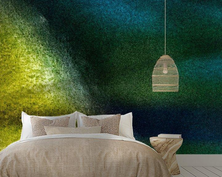 Sfeerimpressie behang: Abstract landschap 1 van Hanneke Luit