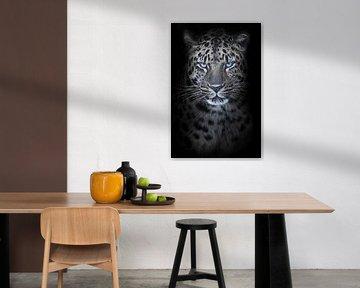 Léopard au clair de lune de nuit, yeux bleus brillants, fourrure décolorée fond noir, portrait de fa sur Michael Semenov