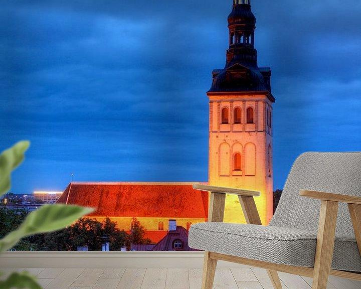 Beispiel fototapete: Nikolaikirche, Niguliste Kirik, Ausblick vom Domberg auf die Unterstadt, Altstadt bei Abendd�mmerung von Torsten Krüger