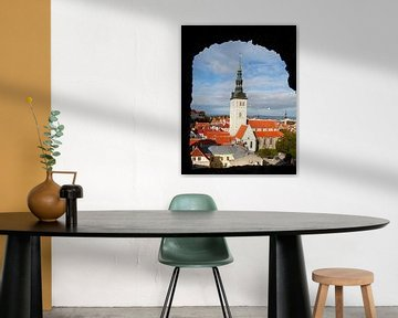 Uitzicht vanaf de Kiek in de Kök toren naar de St. Nicolaaskerk, Benedenstad, Oude Stad,Tallinn, Est