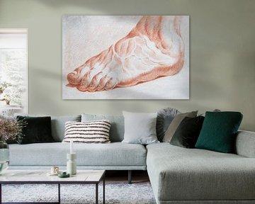 Seitenansicht eines Fußes mit sehr deutlich vorhandenen Blutgefäßen in Rötel auf Papier von Henk Vrieselaar