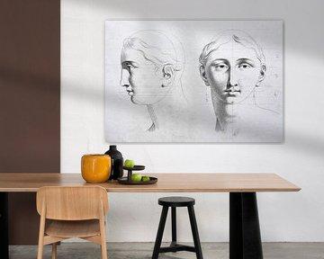 Alte Studie eines Kopfes, Vorder- und Seitenansicht, in schwarz-weiß von Henk Vrieselaar