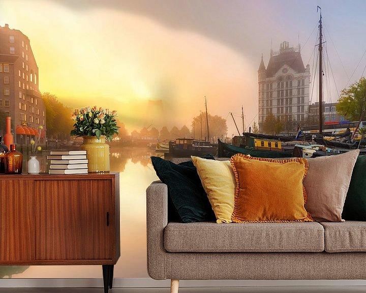 Sfeerimpressie behang: Oudehaven met mist van Prachtig Rotterdam