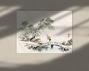 Ein Mann überquert die Brücke im Regen von Kōno Bairei von Studio POPPY