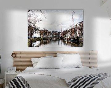 Schiedam / Lange haven met zicht op de Appelmarktbrug van Ellen Driesse