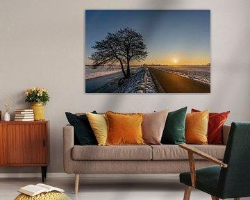 Zonsopkomst in een winters landschap van Dafne Vos