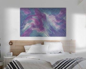 Abstrait - Rose et bleu - Peinture