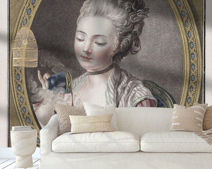 Beispiel fototapete: Büste einer jungen Frau beim Kaffeetrinken, Louis-Marin Bonnet, 1774 von Atelier Liesjes