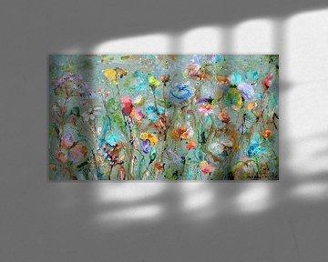 Wild flower field van Atelier Paint-Ing