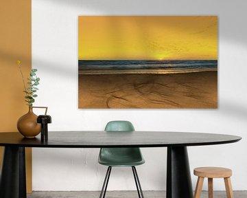 Zonsondergang - Kust - Strand - Zand - Schemering - Horizon - Zonsopkomst - Schilderij